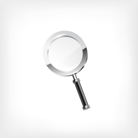 investigate: Magnifying glass isolated on white background icon Illustration