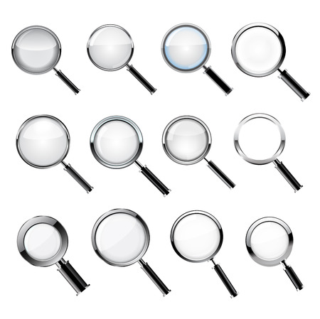 investigate: set Realistic loupe, Magnifying Glass with black handle