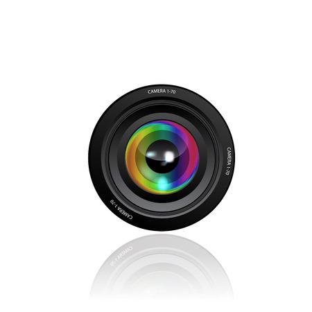 telephoto: Camera Lens icon on white background. Illustration