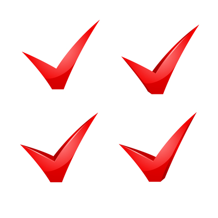 proceed: red check mark icon set illustration on white. Illustration