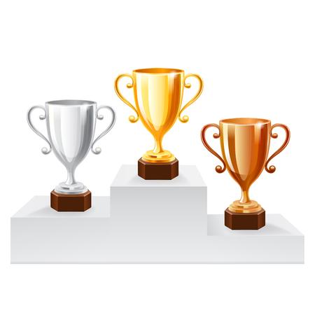 burners: Gold Trophy Cup set. illustration on white background