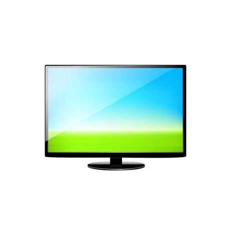 palmtop: Laptop and green arrow.  illustration