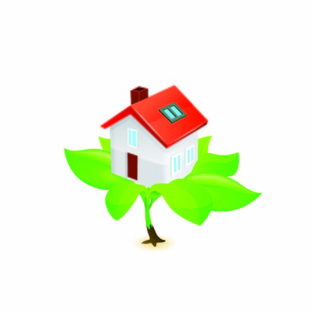 eco House Icon vector on white background.