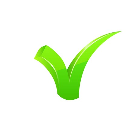 proceed: Vector green checkmark set on white background. Illustration