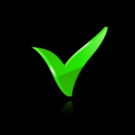 proceed: Vector green checkmark on black background icon Illustration