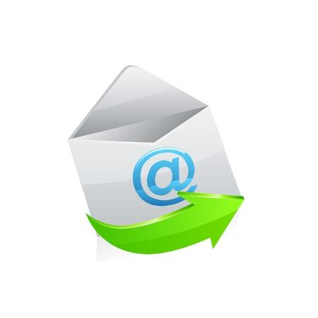 shinny: email envelope icon vector illustration on white.