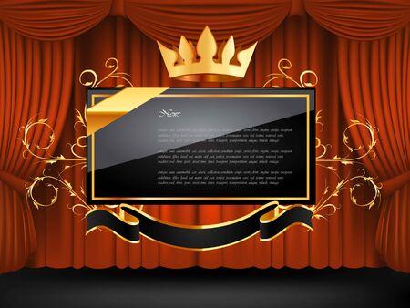 velvet ribbon: Black frame king. Vector illustration on background