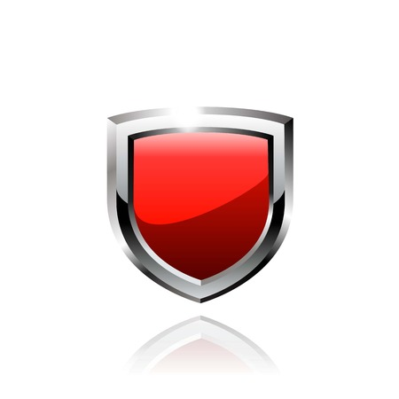 red shield vector icon on white background. Stock Illustratie