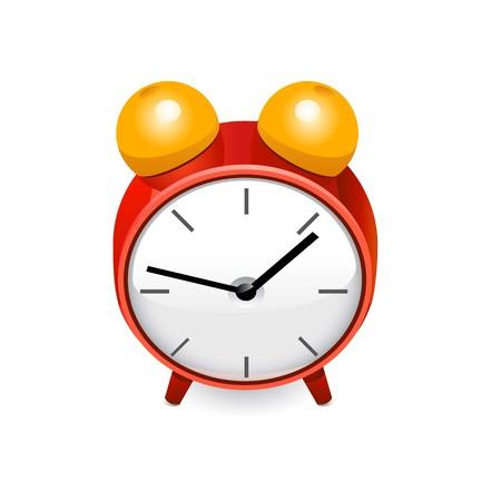 Red alarm clock.