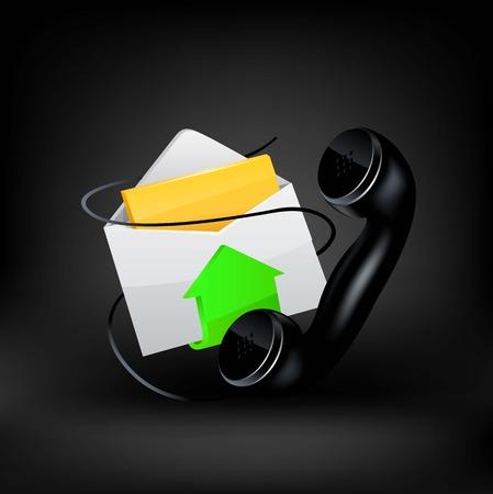 Vector icon. E-mail and phone Ilustração