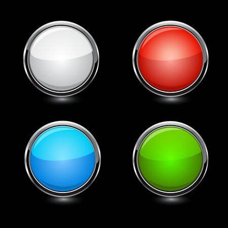 Buttons, elements round on black background vector illustrations