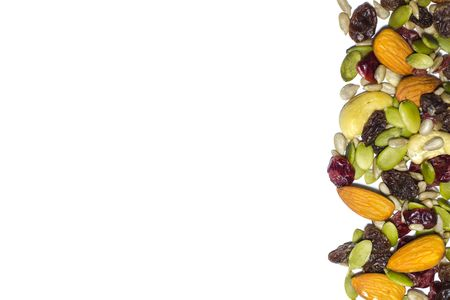 mix: Trail mix on the white background. Stock Photo