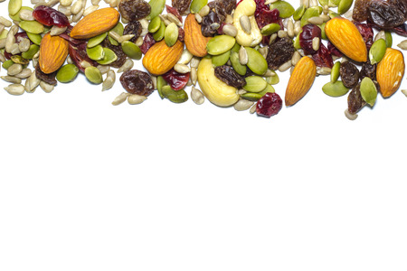 amalgamate: Trail mix on the white background. Stock Photo