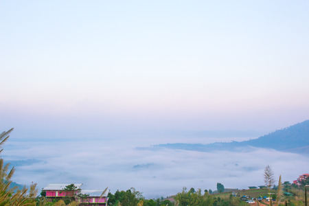 relent: Landscape of the sea fog during the winter in Thailand.