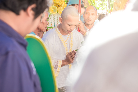 Nakhon Ratchasima, THAILAND, Nov 2015 : Thai males are ordained at the age of 21 years up to replace the grateful parents and follow the teachings of Buddhism come since ancient times.