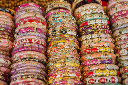 frippery: Colorful bracelet that placed beautifully in front of shops in Thailand.