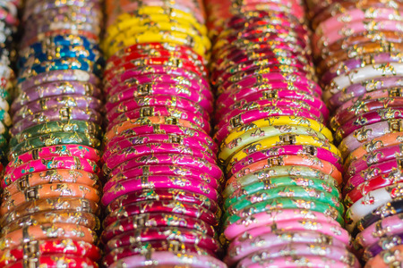 Colorful bracelet that placed beautifully in front of shops in Thailand.