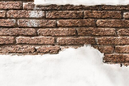 complementary: Background and pattern of white walls and brick antique brown.