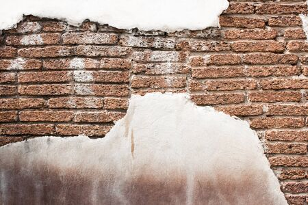 Background and pattern of white walls and brick antique brown.