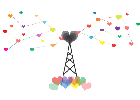 Antenna spread the love out of a colorful heart. Illustration