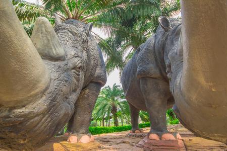 Pattaya, THAILAND, April 2017 : Statue rhinoceros at Nong Nooch Garden Pattaya.
