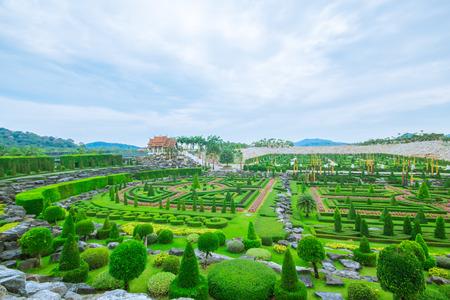 Pattaya, THAILAND, April 2017 : French garden at Nong Nooch Garden Pattaya.