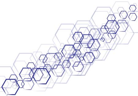 Une technologie hexagonale bleu vecteur en forme qui se chevauchent sur fond blanc Banque d'images - 83431639