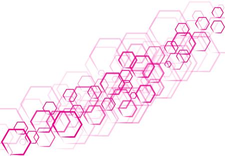 Une technologie hexagonale rose sous forme qui se trouve sur fond blanc Banque d'images - 83431642