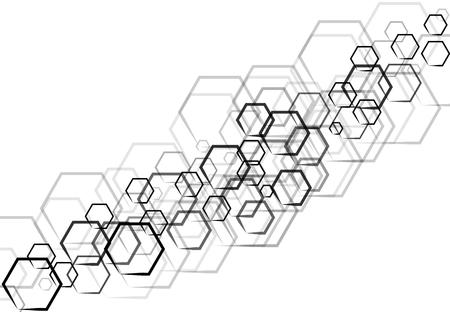 Une technologie hexagonale noir hexagonale en forme qui se chevauchent sur fond blanc Banque d'images - 83431661