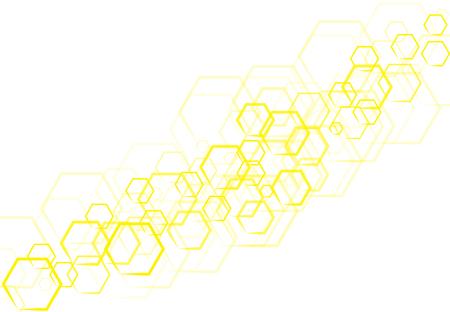 Une technologie Vector hexagonale jaune qui se chevauche sur fond blanc. Banque d'images - 83431662