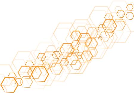 벡터 기술 오렌지 육각형 모양에서 흰색 배경에 겹치는.