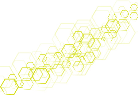 A Vector technology green and yellow hexagonal in shape that overlap on white background.
