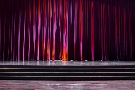 finesse: Stage wood with ladder and red curtains in a theater. Stock Photo