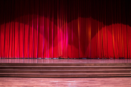 Stage wood with ladder and red curtains in a theater. Banque d'images - 120090749