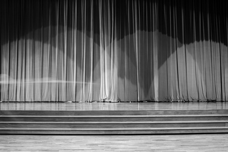 Motion on the stage wood with ladder and curtains in a theater. Banque d'images - 120091291