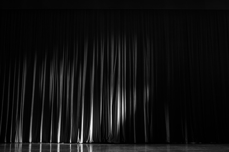Black and white velvet curtains with the lights of the show and the wood flooring parquet.