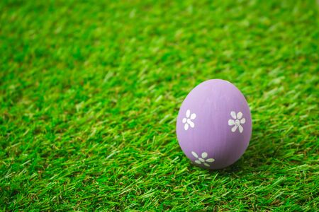 Purple easter egg painting colorful during the Easter and artificial grass green. Purple easter eggs on the green grass.
