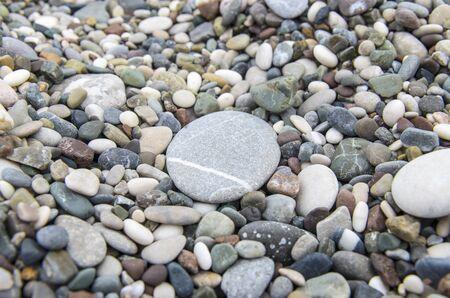 pebbles: Pebbles with big stone closeup Stock Photo