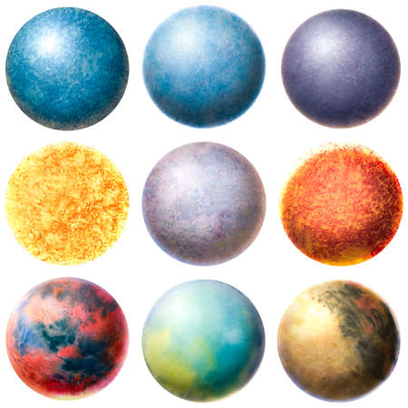 Set of watercolor painted planets. The figure of volumetric planets. Beautiful texture in the form of balls. volume circle. Banque d'images