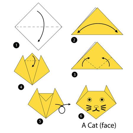 stap voor stap instructies hoe origami kat te maken. Stock Illustratie