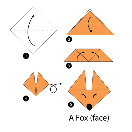 origami paper: step by step instructions how to make origami fox.