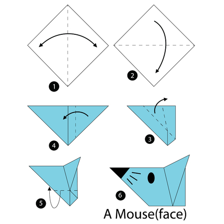 Step By Step Instructions How To Make Origami Mouse Royalty Free