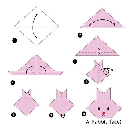 stap voor stap instructies hoe origami konijn te maken.