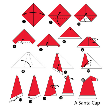 step by step instructions how to make origami Santa cap. Illustration