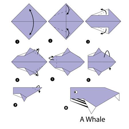 stap voor stap instructies hoe origami walvis te maken.