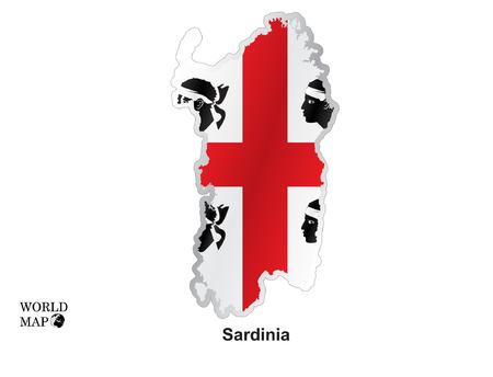 three points: Map Sardinia. Illustration