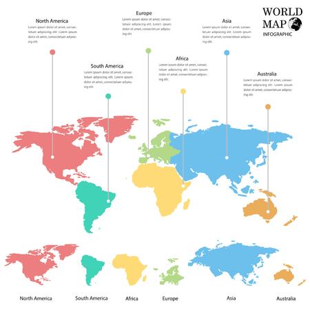 World map info graphics.  イラスト・ベクター素材