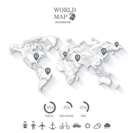 World Map Info graphics. Stock Illustratie
