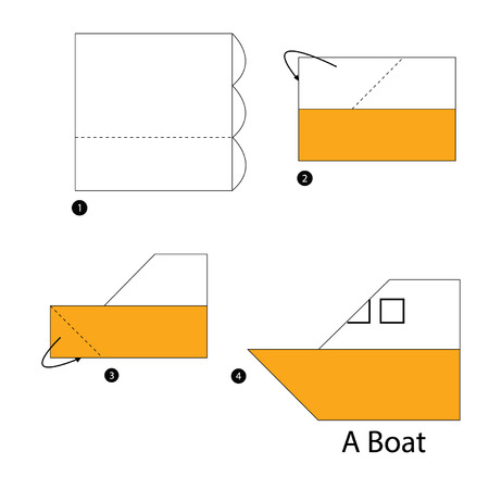 step by step instructions how to make origami boat royalty free