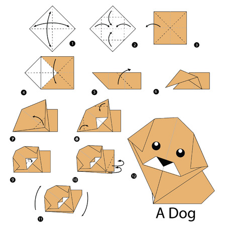 origami: step by step instructions how to make origami dog.